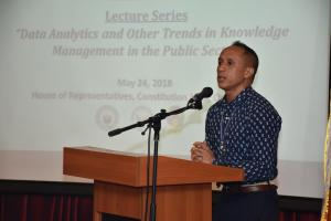 "LECTURE SERIES: ""DATA ANALYTICS AND OTHER TRENDS IN KNOWLEDGE MANAGEMENT IN THE PUBLIC SECTOR  (MAY 24, 2018)"